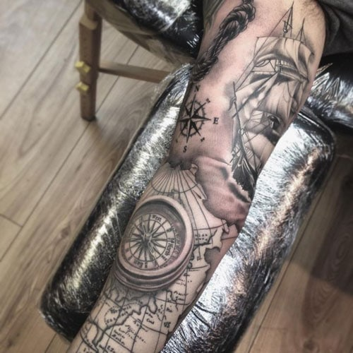 Full Sleeve Compass Map Ship Tattoo