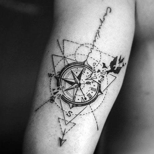 Geometric Compass Tattoo Designs