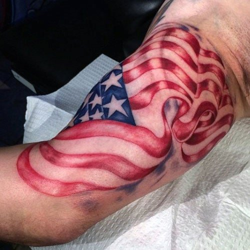 Men's American Flag Bicep Tattoo Designs