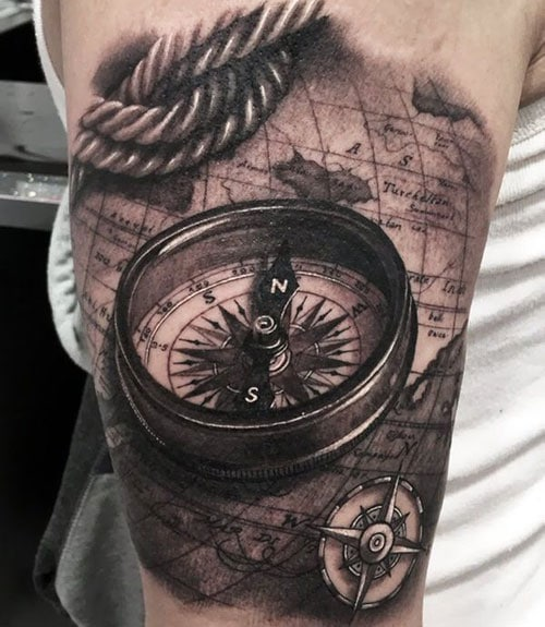 Nautical Compass Tattoo Designs For Guys
