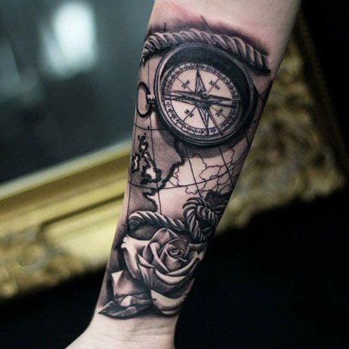 Nice Compass Rose Map Tattoo