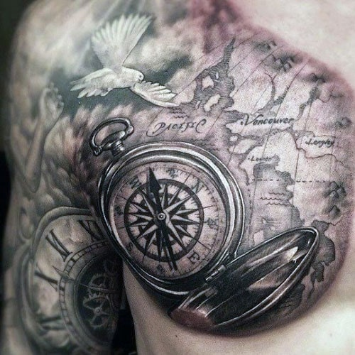 Old School Map Compass Tattoo on Chest