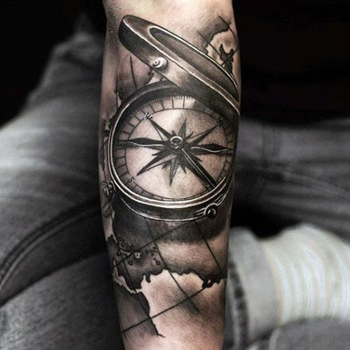 Open Compass Tattoo Design For Guys