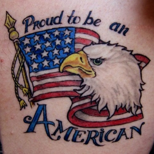 Proud To Be An American Flag Tattoo