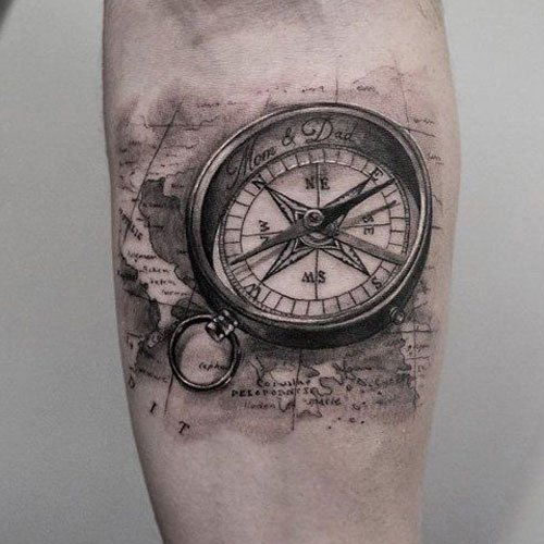 Realistic Compass Tattoo Designs For Guys