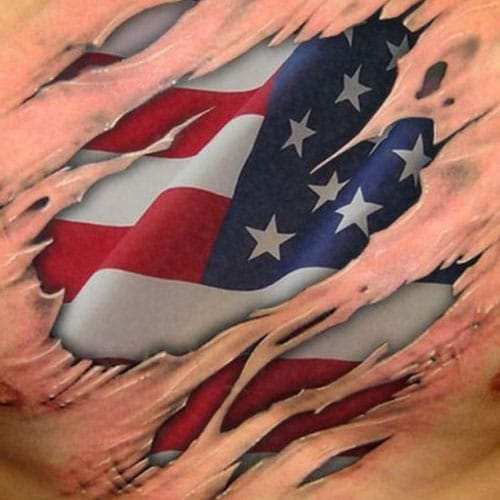 Ripped American Flag Chest Tattoo