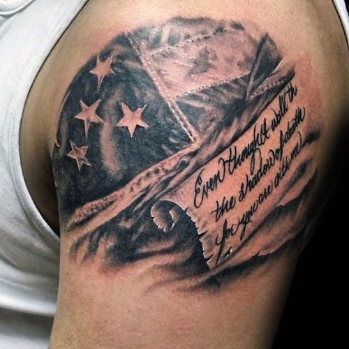 Scripture with American Flag Tattoo on Shoulder