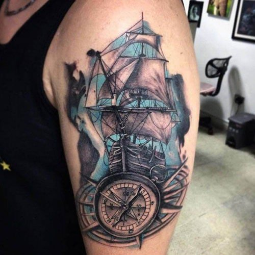 Sea Ship Compass Tattoo