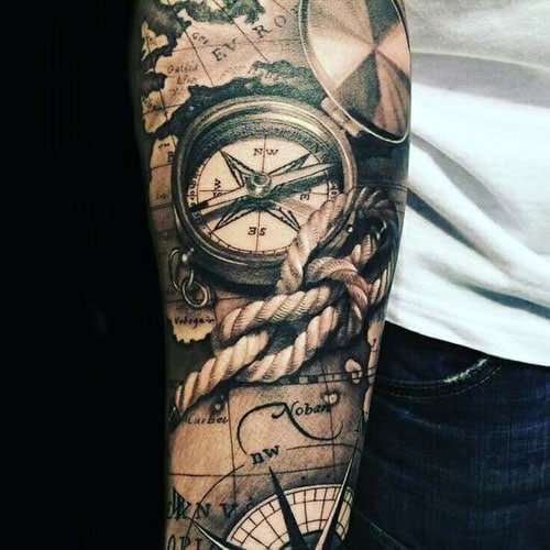Sextant and Compass Tattoo