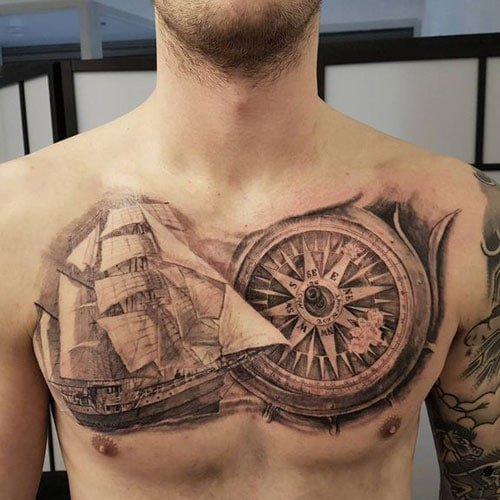 Ship and Compass Tattoo Design on Chest