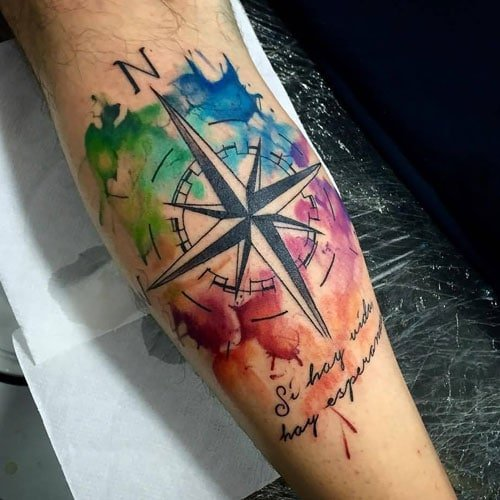 Watercolor Star Compass Tattoo Designs