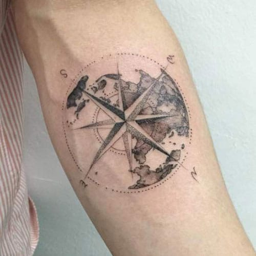 World Map Compass Tattoo Designs For Guys