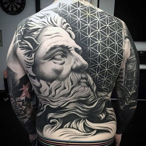 3D Greek God Back Tattoo with Geometric Designs