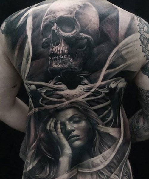 3D Skull Woman Portrait Full Back Tattoos For Guys