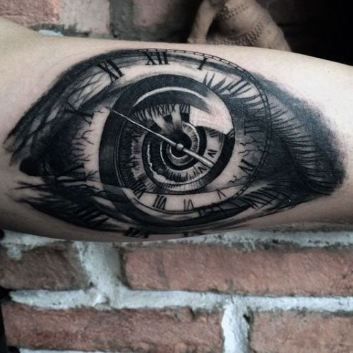 Awesome Clock Eye Inner Arm Tattoo Ideas