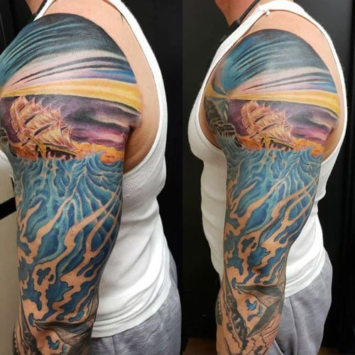 Awesome Colorful Shoulder Half Sleeve Tattoo Ideas