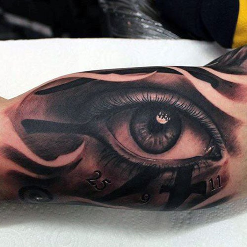 Awesome Eye Inner Bicep Tattoos