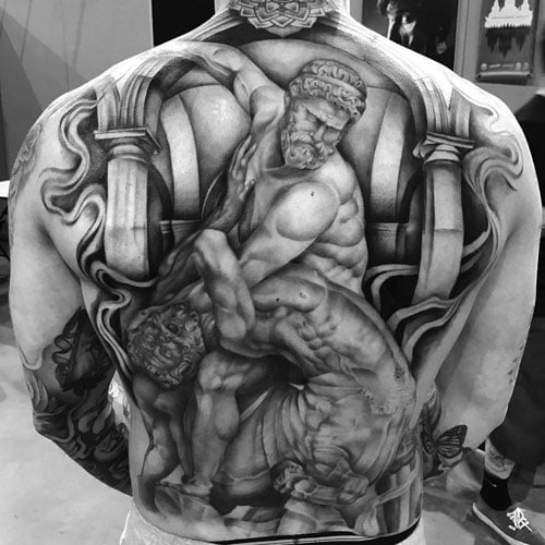 Awesome Fighting Greek Gods Back Tattoo Designs