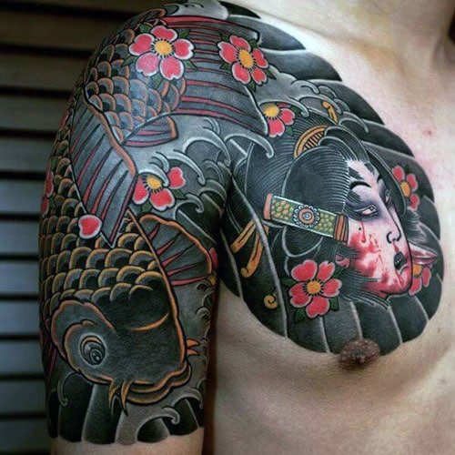Awesome Japanese Chest and Half Sleeve Tattoo