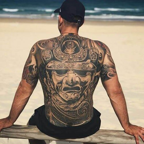 Awesome Japanese Samurai Full Back Tattoo Designs