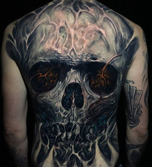 Awesome Skull Back Tattoos