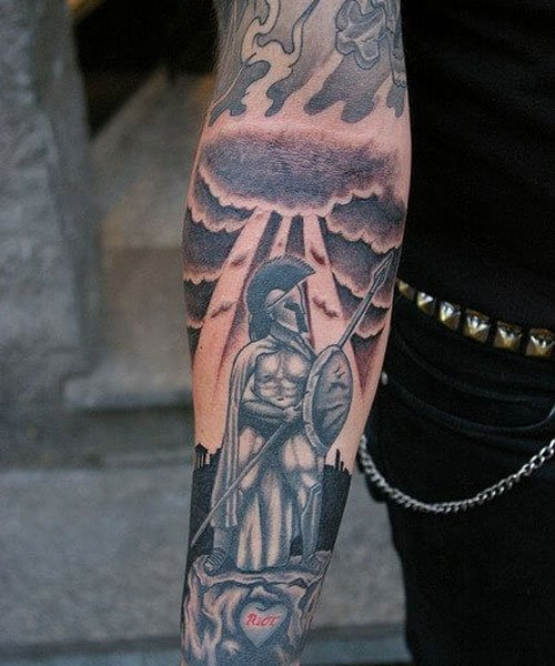 Awesome Warrior Full Sleeve Forearm Tattoo