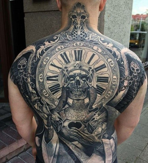 Badass Clock Skull Full Back Piece