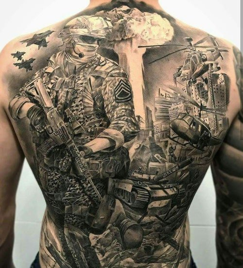 Badass Military Back Tattoos For Men