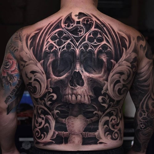 Badass Skull Back Tattoo Designs