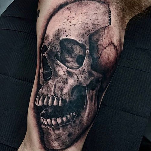 Badass Skull Bicep Tattoo Ideas For Men