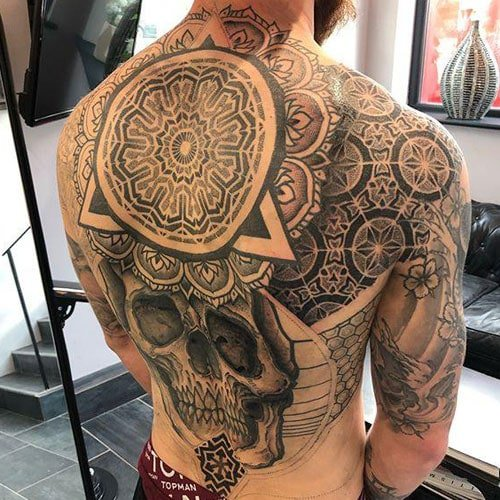 Badass Skull Geometric Back Tattoo Ideas