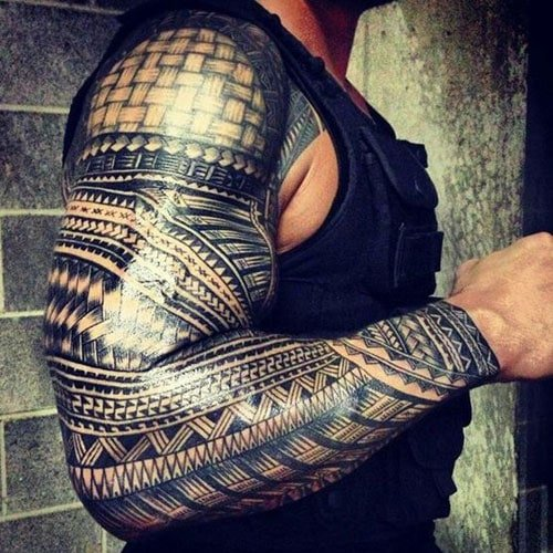 Badass Tribal Half Sleeve Tattoo Designs For Men