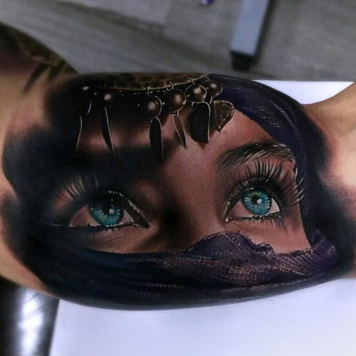 Beautiful 3D Bicep Tattoo Designs