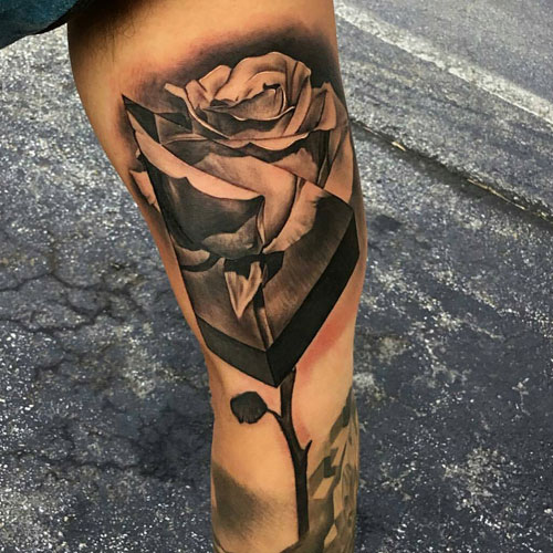 Beautiful Long Rose Inner Arm Tattoo