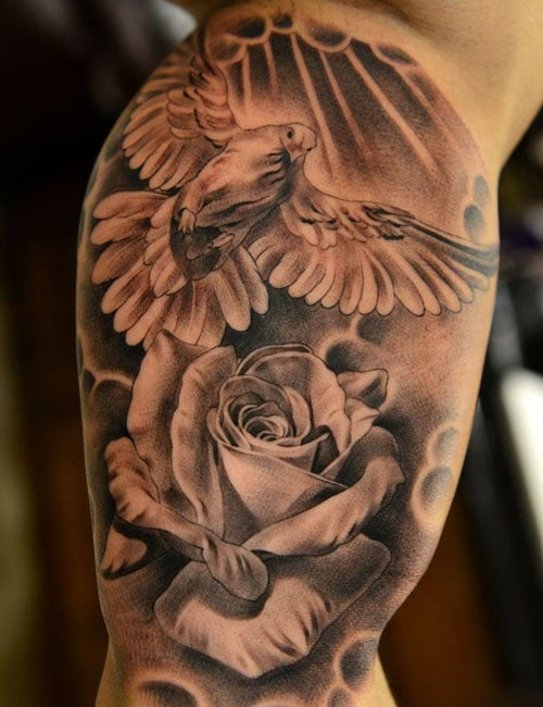 Bird Flower Inside Arm Bicep Tattoos