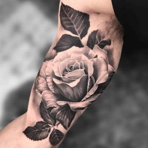 Black and White Bicep Tattoo Ideas
