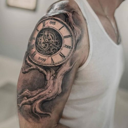 Black and White Half Arm Sleeve Tattoo