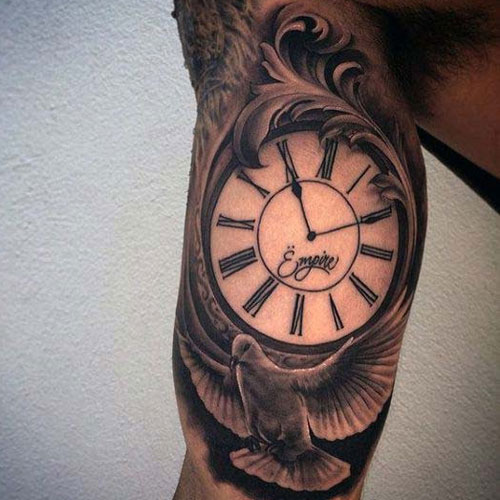 Clock Dove Inner Bicep Tattoo Designs