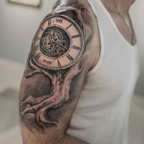 Clock Half Sleeve Tattoo For Guys