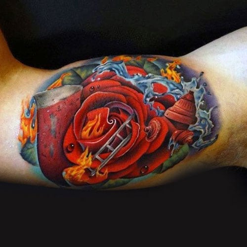 Colorful Rose Inner Bicep Tattoos For Guys