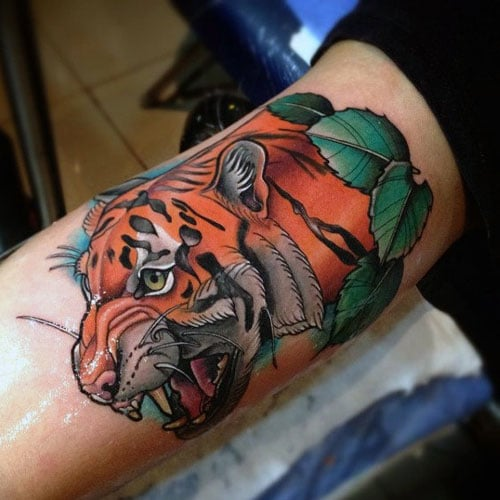 Colorful Tiger Arm Tattoos
