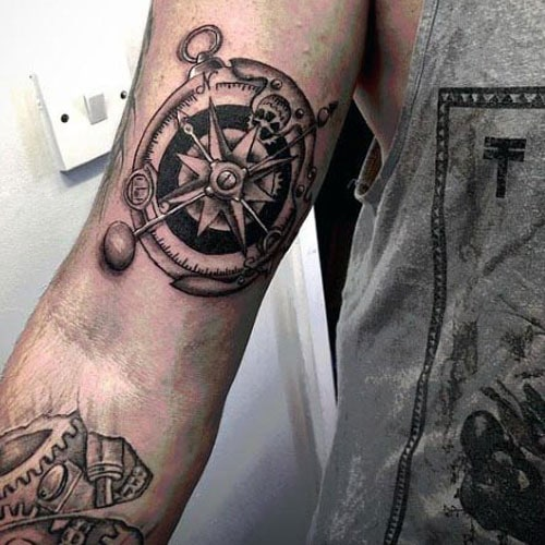 Compass Bicep Tattoo Ideas For Men