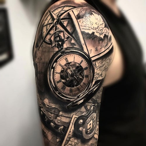 Compass Rose Map Half Sleeve Tattoos