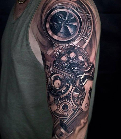Cool 3D Sleeve Tattoos of Gears