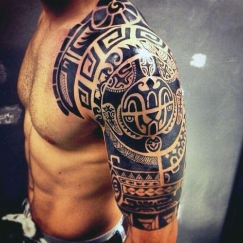 Cool Chest Shoulder Half Sleeve Tattoo Designs