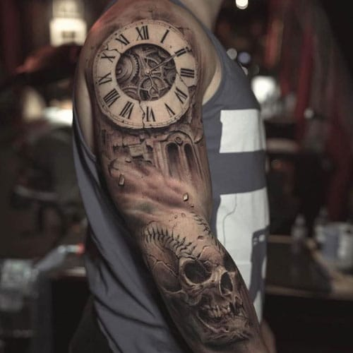 Cool Clock Skull Half Sleeve Tattoo