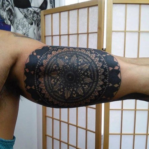 Cool Geometric Inner Arm Bicep Tattoos