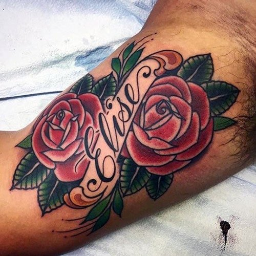 Cool Inner Bicep Name Tattoo Designs