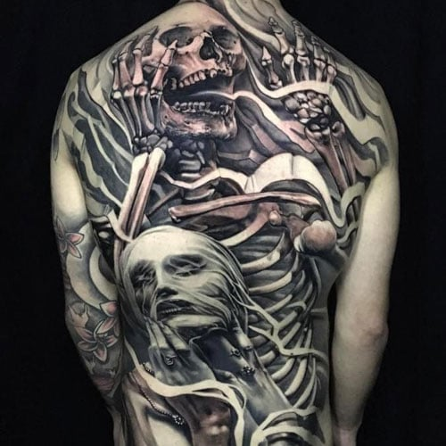 Cool Skeleton Full Back Tattoo Ideas