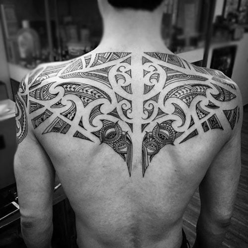 Cool Tribal Upper Back Tattoo Designs For Guys